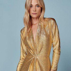 Reformation Gold Shiny Keegan Dress Dubai L NWT